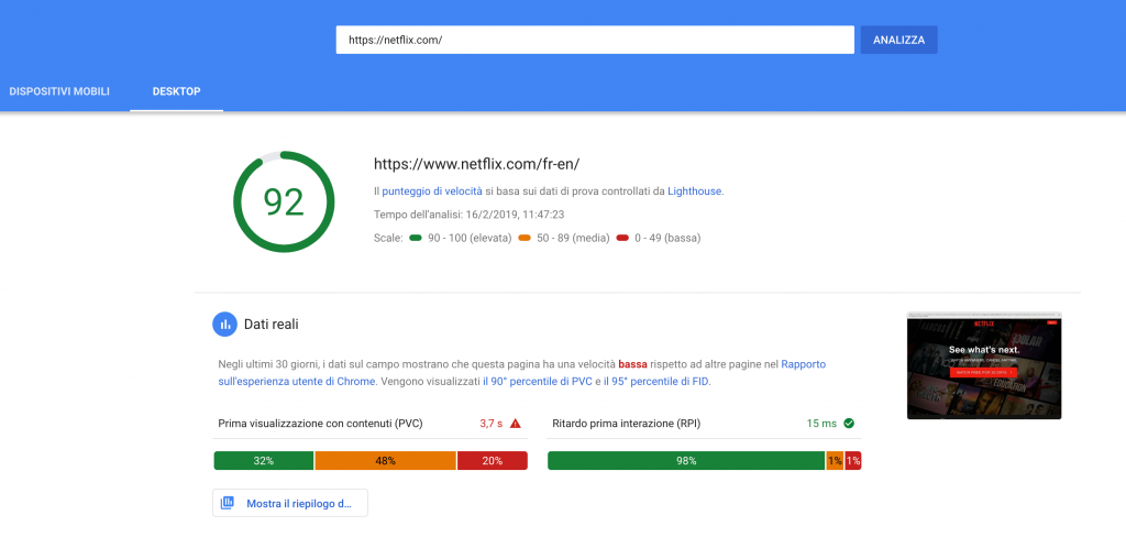 Risultato test Page Speed Insights