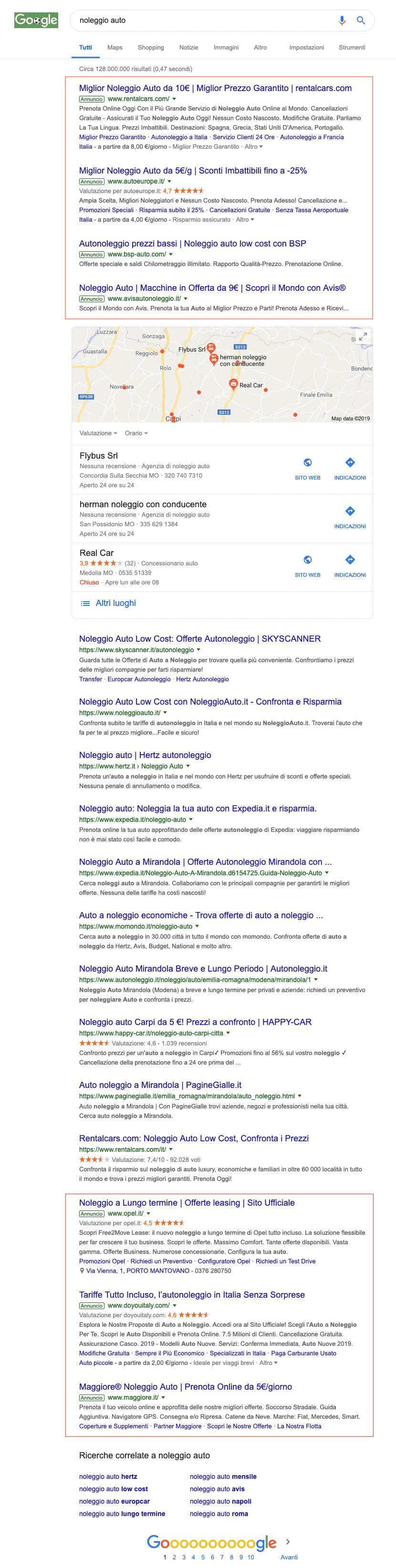 SERP con Google Ads