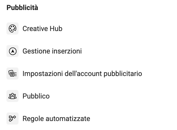 Business Manager Menu - Pubblicità