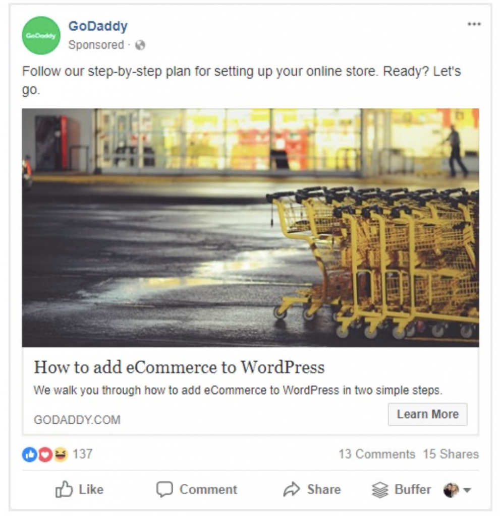 Annunci Facebook Ads con link cliccabile
