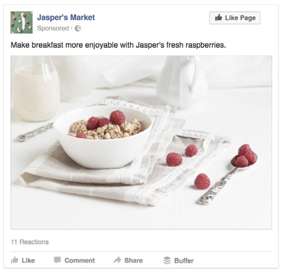 Annuncio Facebook Ads per like alla pagina con foto