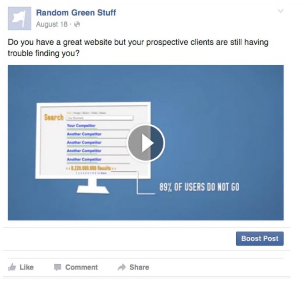 Annuncio Facebook Ads per like alla pagina con video
