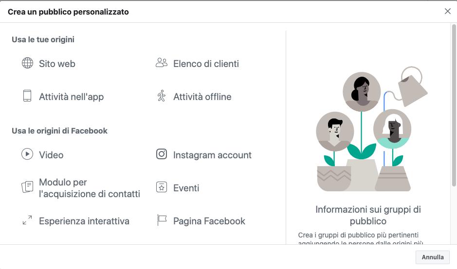 Creare un pubblico personalizzato su Facebook